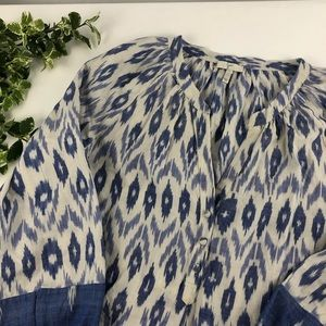 Joie Cotton Blue Ikat Split V Neck Blouse